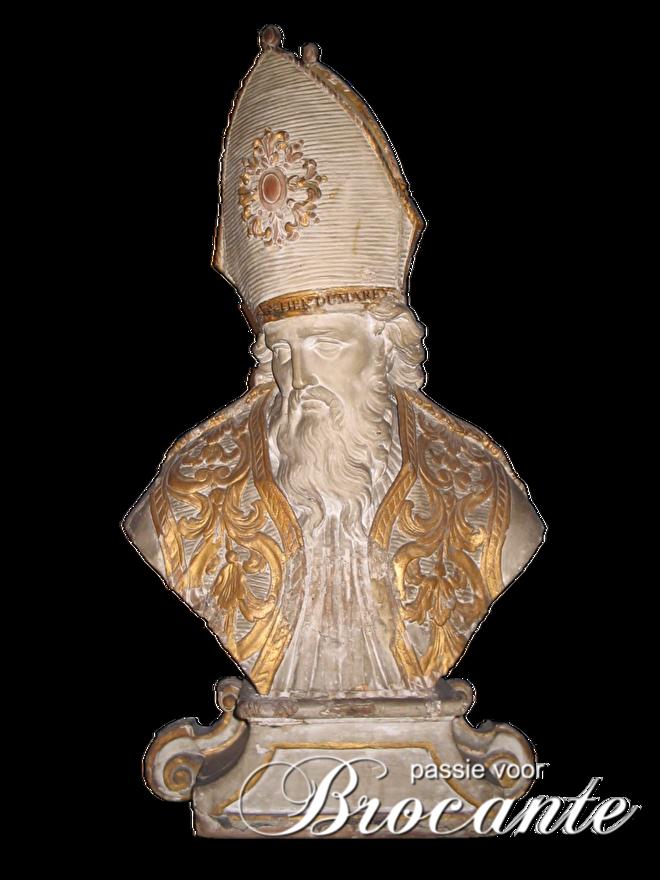 Antieke polychrome  bisschops buste, heiligenbeeld