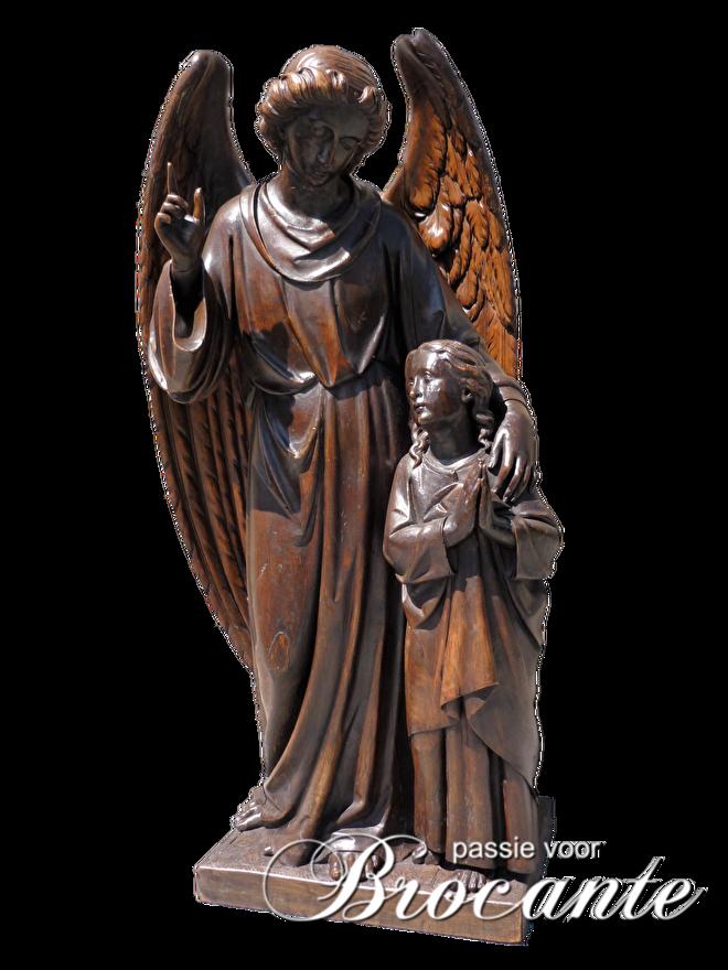 Antieke houten sculpture, engelen, heiligenbeeld