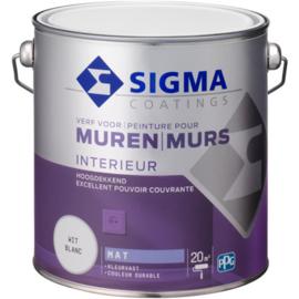 Sigma Muurverf Mat - RAL 9010 - 2,5 liter