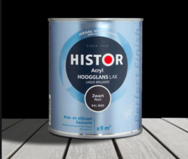 Histor Perfect Finish Acryl Zijdeglans - Zwart 6372  - 0,75 liter