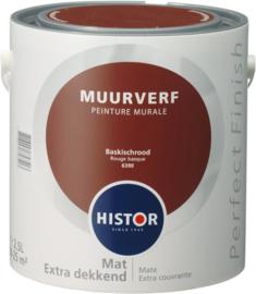 Histor Perfect Finish Muurverf Mat - Baskisch rood 6390 - 2,5 Liter