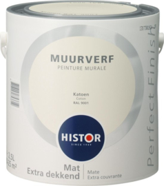 Histor Perfect Finish Muurverf Mat - Katoen RAL 9001 - 2,5 Liter