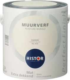 Histor Perfect Finish Muurverf Mat - RAL 9010 Zonlicht - 2,5 Liter