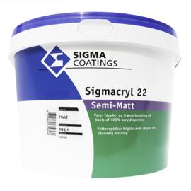 Sigmacryl 22 semimatt  wit ( superlatex ) - 1 maal 10 liter - Vergelijkbaar met Sigmacryl Decor Soft Semi-Matt