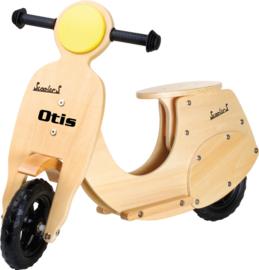 Houten scooter loopfiets met naam