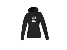 Hoodie - Coffee. Insulin. Wine. Repeat Black