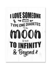 Wooden plate - I love someone with type 1 diabetes