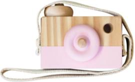 Houten fototoestel roze