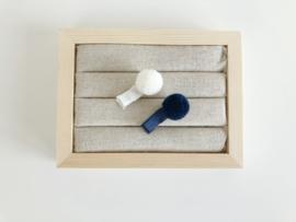 Setje pompon haarspeldjes blauw - wit