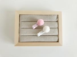 Setje pompon haarspeldjes licht roze - wit