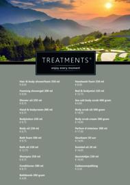 Treatments® A5 luxe prijskaart home & bodycare met voet