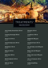 Treatments® A5 luxe prijskaart bodycare met voet