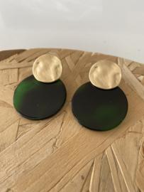 Oorbellen  diep groen