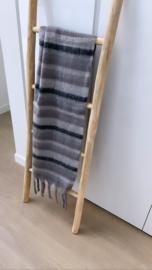 Sjaal Winter gestreept grijs/zwart