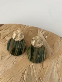 Oorbellen  gevlamd groen