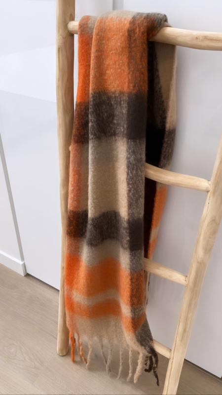 Sjaal Winter camel/oranje