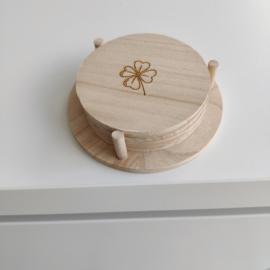 6 x houten 'op-kikker' onder-zetter
