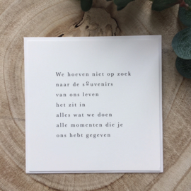 Rouwkaart - Herinneringen als souvenirs