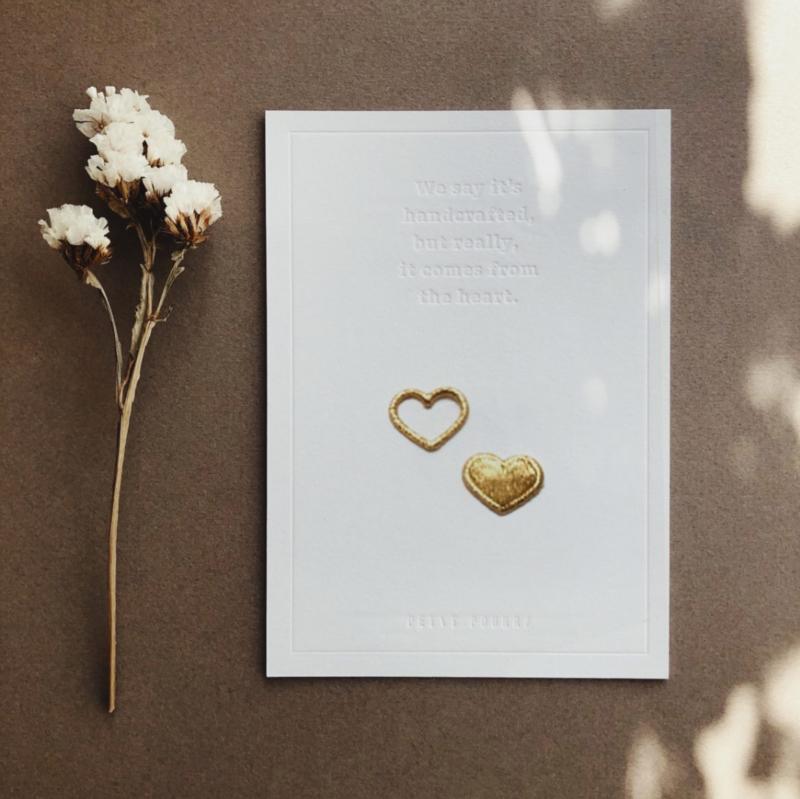 Luxekaart met strijkpatch - In je hart voor altijd samen