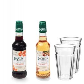 Thuiswerkpakket Caramel, Hazelnoot & 2 glazen - 2 x 35cl