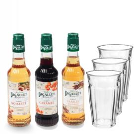 Thuiswerkpakket Caramel, Vanille, Hazelnoot & 3 glazen - 3 x 35cl