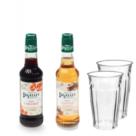 Thuiswerkpakket Caramel, Vanille & 2 glazen - 2 x 35cl