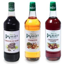 koffiesiroop voordeelpakket Hazelnoot, Chocolat Noir & Châtaigne  - 3 x 100cl