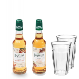 Thuiswerkpakket Vanille, Hazelnoot & 2 glazen - 2 x 35cl