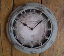 Industriële klok, metaal Grey, diameter 25 cm.
