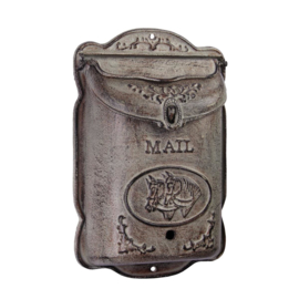 Mailbox, iron, with horses, antique green