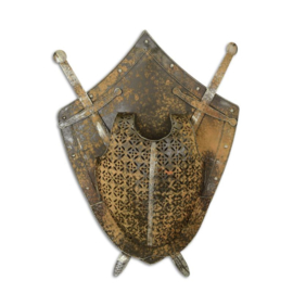An iron wall mount shield with armour and swords