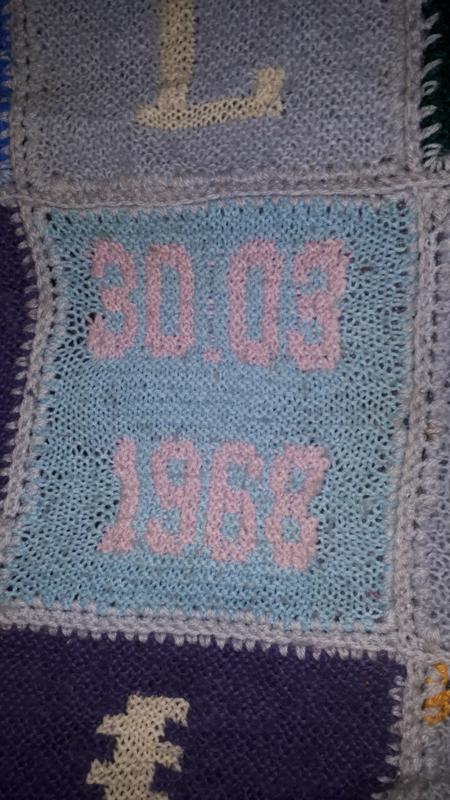 Retro handgebreide deken/plaid/sprei 165 x 270.