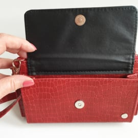 rode portemonnee met schouderband