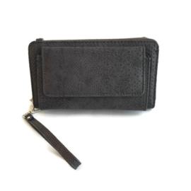 grijze portemonnee met slangenprint