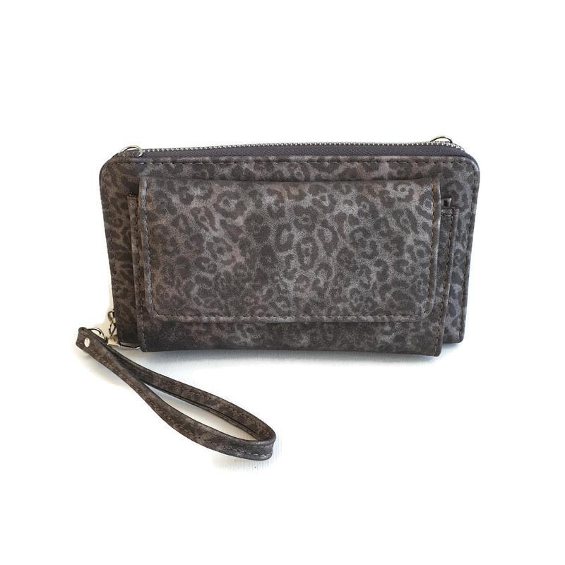 zilvergrijze portemonnee met panterprint