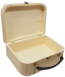 Koffertje hout met leren handvat