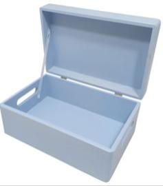 Kist met klepdeksel, ronde hoeken, lichtblauw