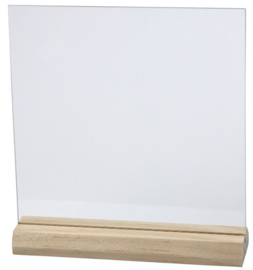Glazen plaatje met houten voet 15x15cm