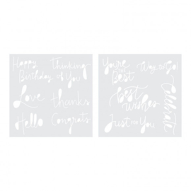 "Foil quill stencils ""sentiments"""