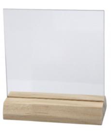 Glazen plaatje met houten voet 7,5x7,5cm