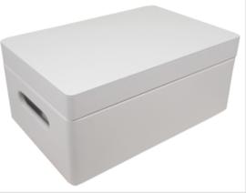 Kist met klepdeksel rechthoek klein wit