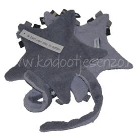 Labeldoekje Ster met speenkoord - Antraciet/grijs