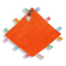 Labeldoekje speen (met naam) - oranje
