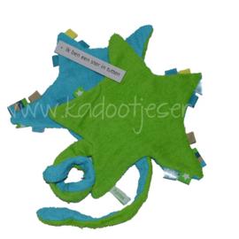 Labeldoekje Ster met speenkoord - Turquoise / Groen