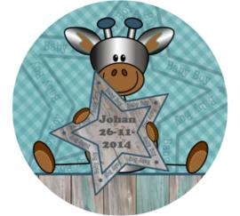 Geboorteklok met naam en datum - Giraf (jongen)