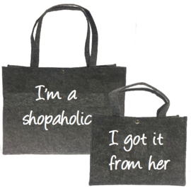 Moeder/dochter tas- I`m a shopaholic / I got it from her