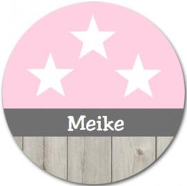 Geboorteklok met naam - Ster Roze