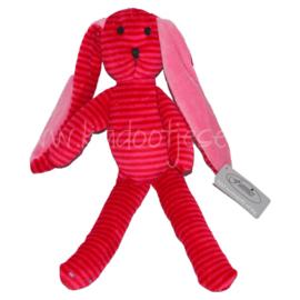 Knuffel konijn met rammelaar  - Roze