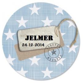 Geboorteklok met naam en datum - Sterren met label
