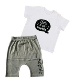 ZOMER SET | T-shirt + korte broek - Hallo ik ben (NAAM)
